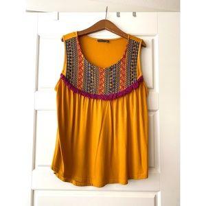 Sleeveless Embroidered Mustard Top | Hannah